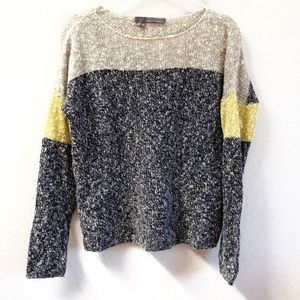 360 Cashmere Marled Knit Color Block Sweater Sz M